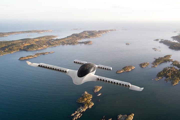 Lilium Jet rendering in flight over water