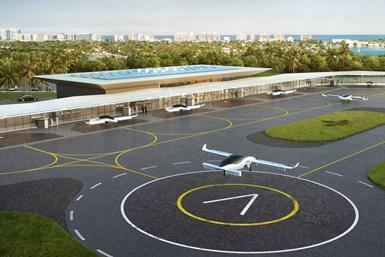 Lilium Jet rendering landing at a vertiport