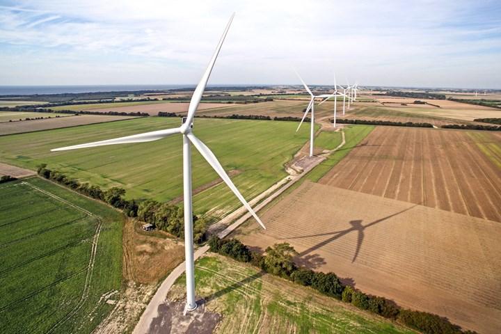Vestas wind turbines on a wind farm in Denmark