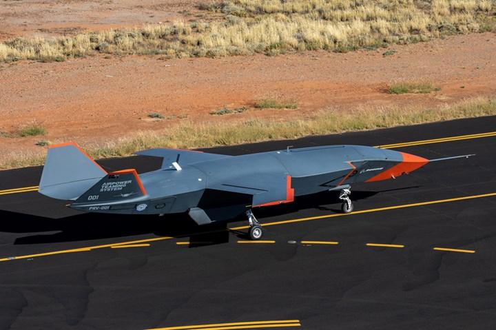 Boeing Loyal Wingman taking off for flight test.