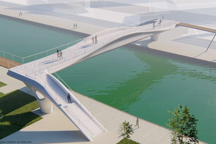 3D-printed concrete pedestrial bridge