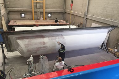 Soling composite covers for Bogotá Casablanca tank, male mold gel coat