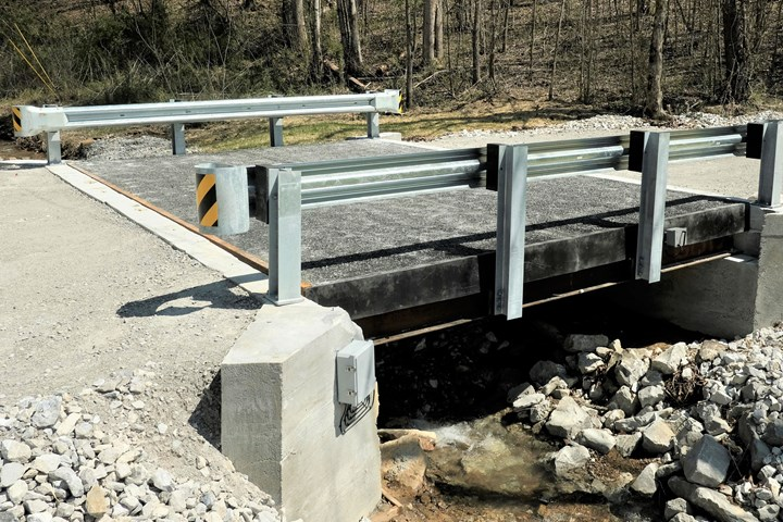 FRP bridge installed in Morgan County, Tennessee.