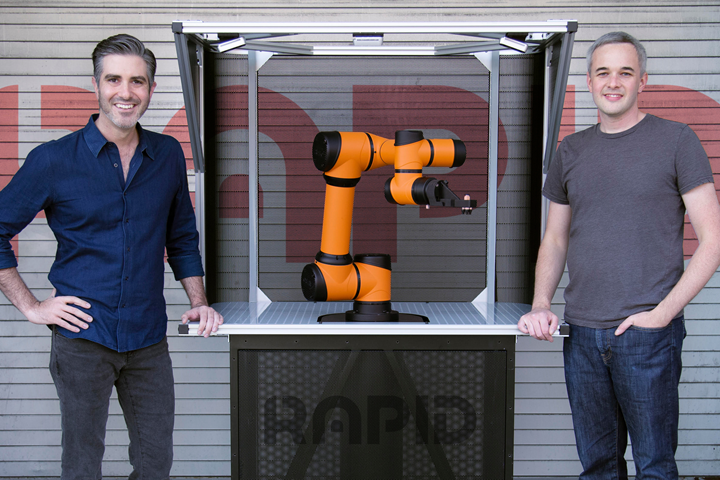 Rapid Robotics CEO Jordan Ruddick (left) with the RMO.