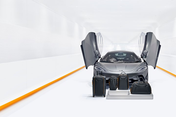 TUMI composite capsule luggage collection in collaboration with McLaren.