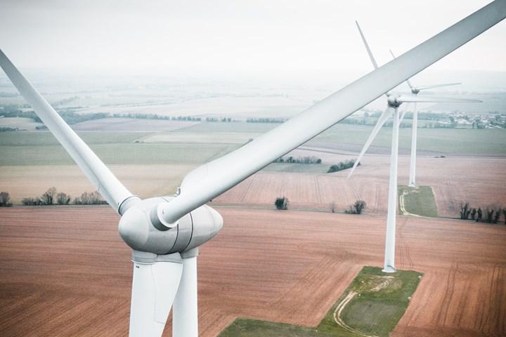 Unsplash image of a wind turbine blade.
