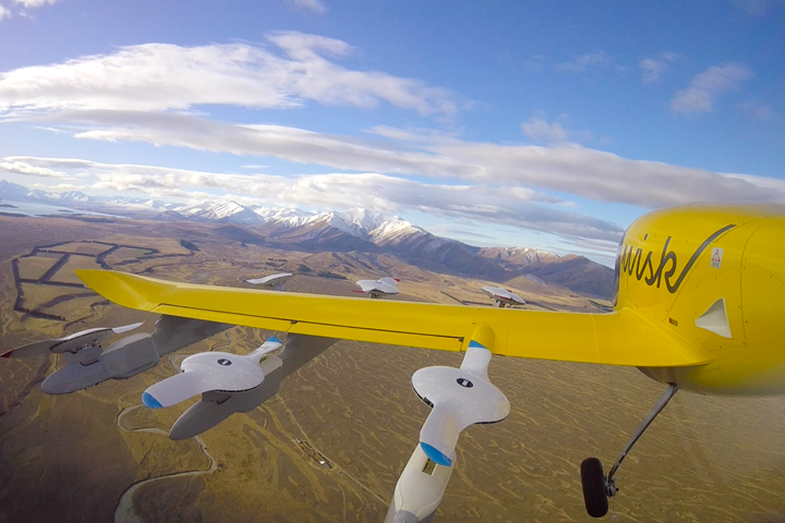 Wisk's all-electric, self-flying air taxi during a recent test flight in New Zealand.