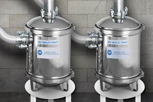 Mass-Vac vacuum pump inlet trap protects extruder vent lines and pumps