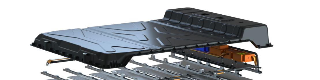 Evonik EV battery housing with epoxy SMC cover, expanded view