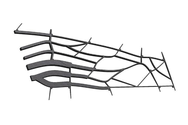 Single-component, organically integrated wing spar and rib configuration.