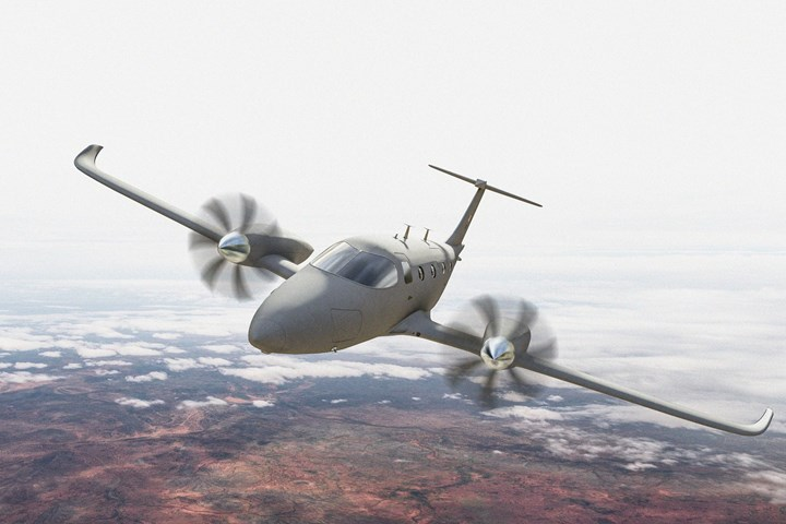 Artist renderings of the eFlyer 800 missionized by L3Harris Technologies.