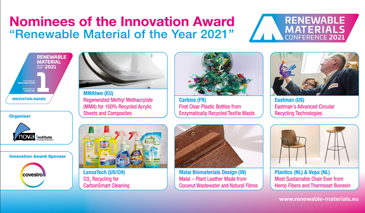 Six nominees for theRenewable Material of the Year Innovation Award.