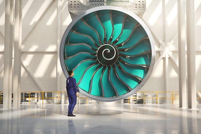 rendering of UltraFan engine from Rolls-Royce