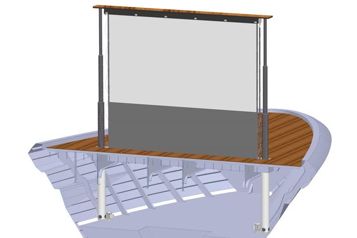 Superyacht cinema screen design rendition.