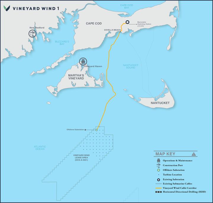 Vineyard Wind 1 map.