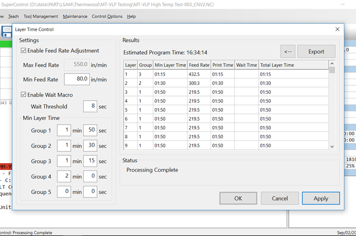 Thermwood LSAM Layer Time Control feature.