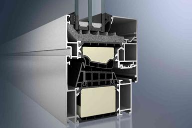 Schüco aluminum window frame cutaway to show thermal breaks