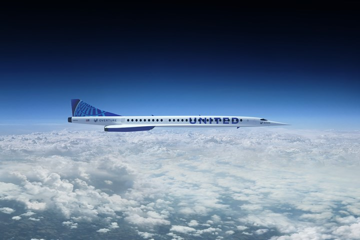 Boom Supersonic Overture aircraft in the clouds.