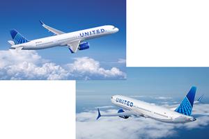 联合航空公司升起了波音,空客飞机的订单