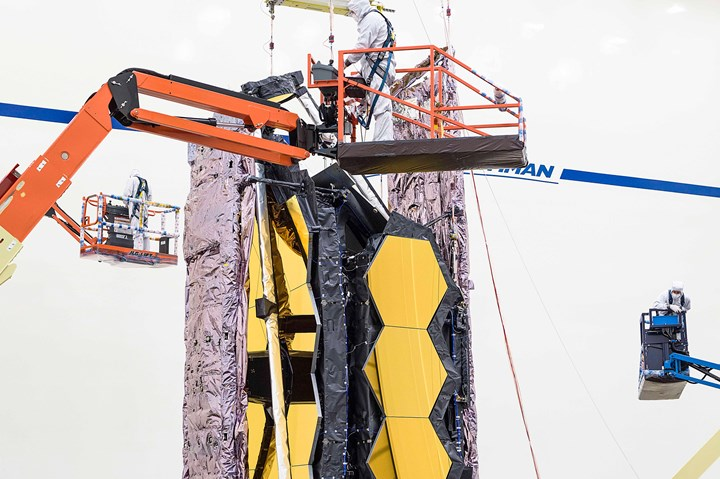 Testing teams carefully lifts the fully assembled James Webb Space Telescope