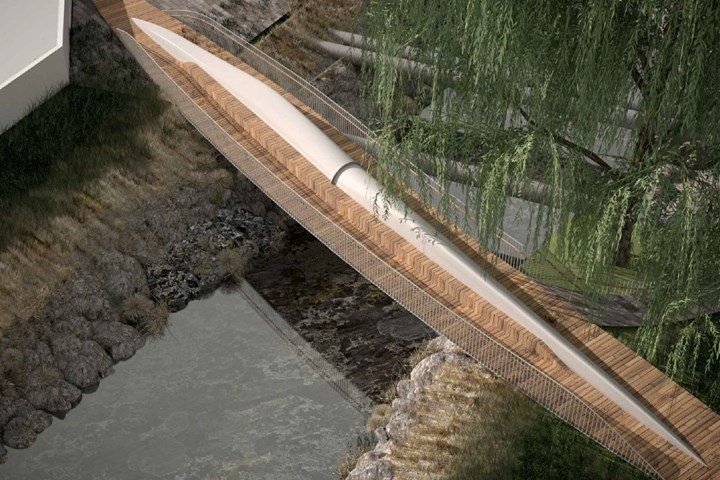composite wind turbine blade recycled into footbridge