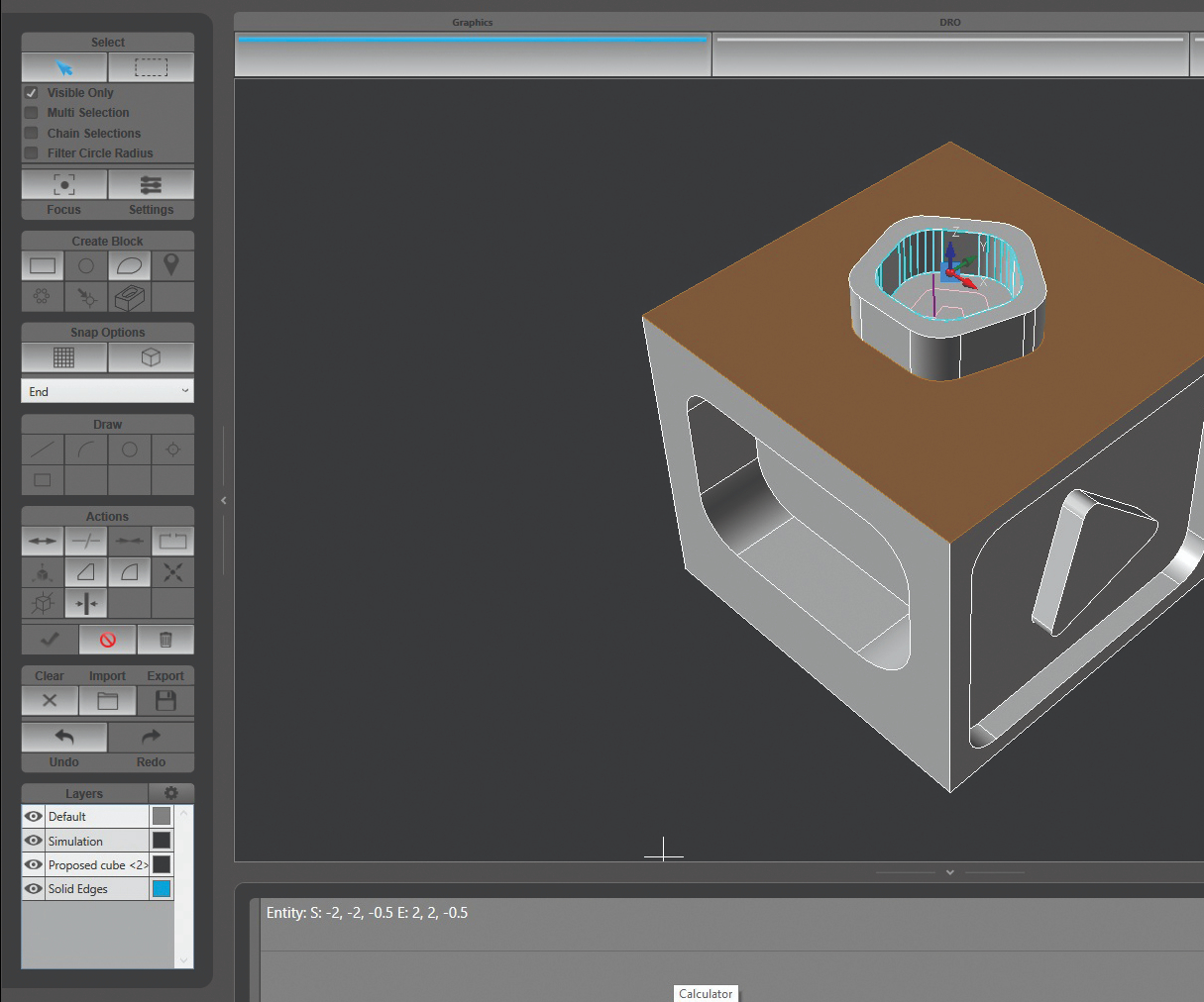 Los usuarios pueden colocar modelos sólidos para ver las operaciones que se mecanizarán. Para una cavidad, el usuario seleccionaría su piso y su parte superior, y la profundidad se extraerá automáticamente del modelo.
