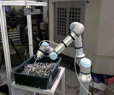El kit de recolección autónoma de contenedores de UR para aplicaciones de atención de máquinas está dirigido a talleres que mecanizan contenedores de partes que pesan hasta 10 kilogramos