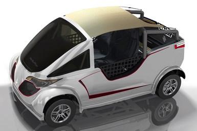 Render del Thalía Funny: es un buggy convertible e ideal para la playa y las actividades recreativas.