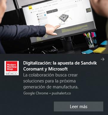 Notificación noticia Modern Machine Shop México.