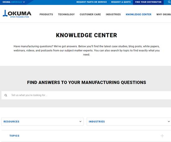 El centro de conocimiento de Okuma tiene valiosa información para la capacitación del recurso humano en tiempos de coronavirus.