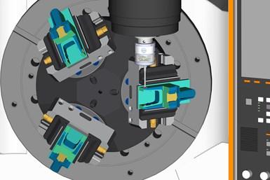 Una captura de pantalla tomada en Esprit de DP Technology, uno de los varios paquetes CAM que ahora son capaces de emplear una réplica virtual idéntica de las máquinas Mazak para la programación y prueba del programa.