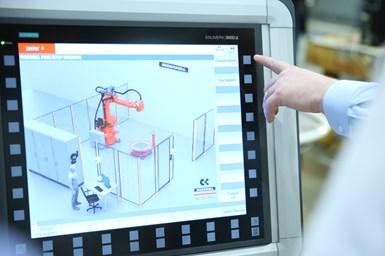 Run MyRobot, una función clave del control CNC Siemens Sinumerik 840D sl, aporta un control de precisión a las máquinas robóticas de Ingersoll.