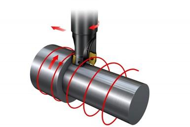 El inserto escariador sigue y sobresale por debajo del inserto que realiza el corte. La finalidad del escariador es suavizar la superficie.