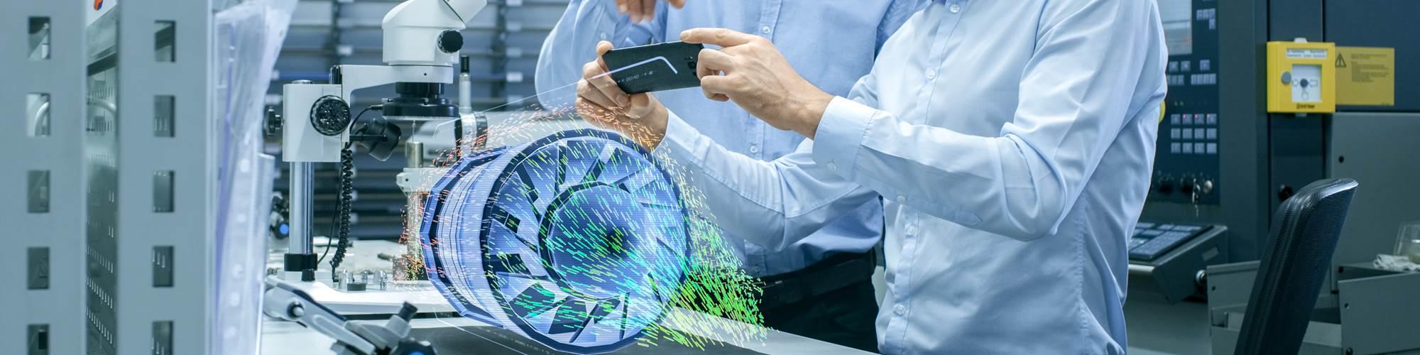Mediante dispositivos de realidad aumentada, un técnico puede acceder datos de ingeniería y notas digitales que lo guíen a través del procedimiento.