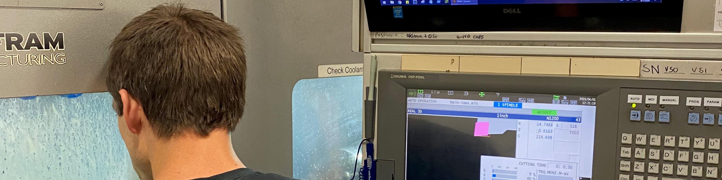 Man runs a multitasking machine