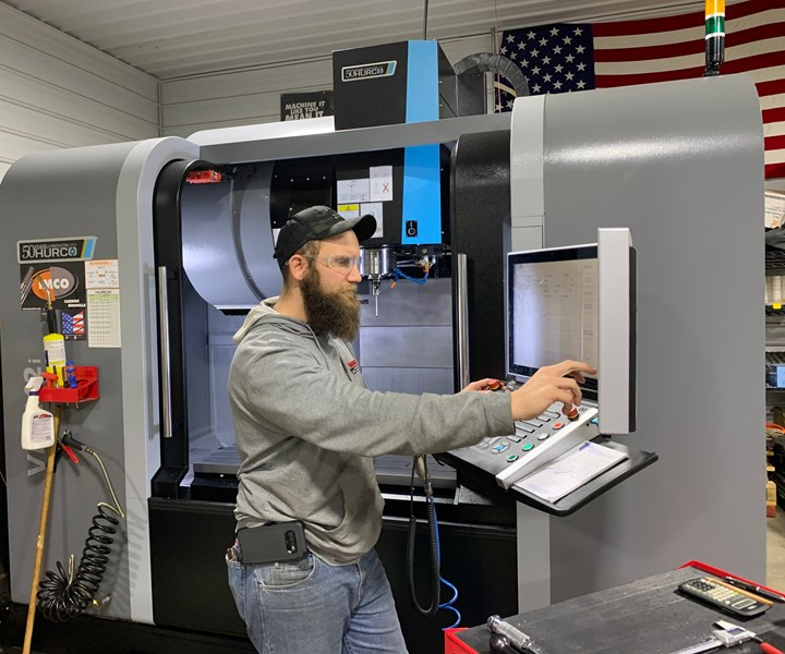 The heart of the shop's machining capability is this VMX42i machining center from Hurco