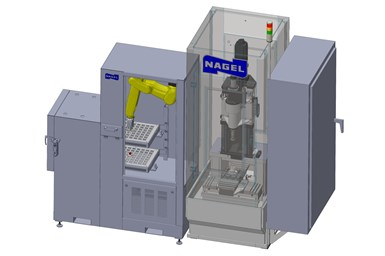 A rendering of Nagel Precision's RL-2000 robotic load/unload system with an attached Nagel ECO 20 Honing machine