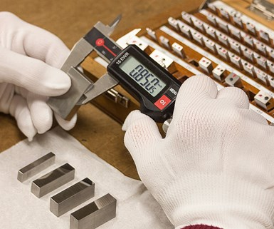 calibrating calipers using gage blocks