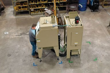 A photo of an operator using one of Clemco's Pulsar Plus blast cabinets