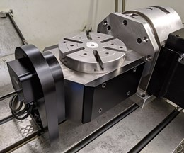 Quindex Fifth-Axis Device Attaches to Fourth-Axis Table