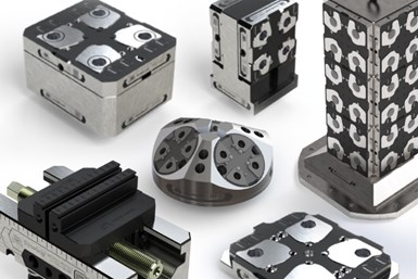 A press photo showing several of Mate Precision Technologies' upcoming 52/96 workholding solutions