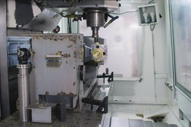 A photo of a machine at WET producing a part programmed in ESPRIT