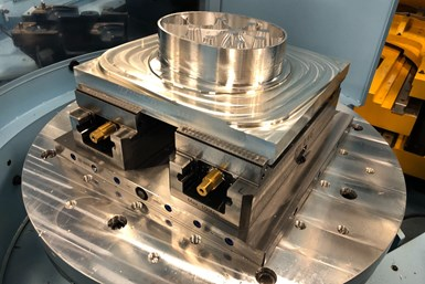 A photo of an in-progress part that Flying S machined with its Matsuura five-axis machines