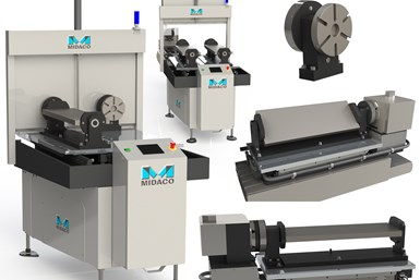 A collage of press photos showing pieces of Midaco's trunnion-equipped pallet system for vertical machining centers\
