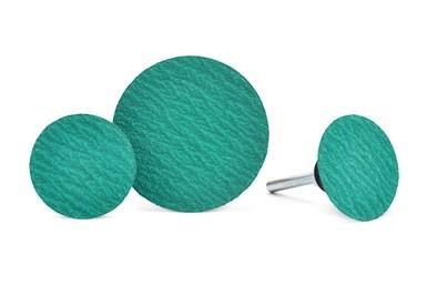 A press image of Superior Abrasives' Shur-Kut Zirconia Grinding Aid Quick Change Discs