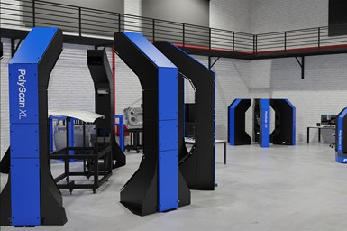 A rendering of PolyScan XL models on a shop floor