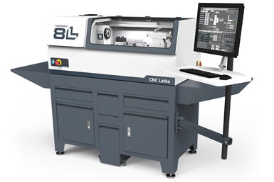 A rendering of the Tormach 8L CNC Lathe, with accompanying computer for PathPilot control