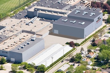 A photo of Ingersoll's facility, with a rendering of how the new expansion buildings will appear once construction is complete.