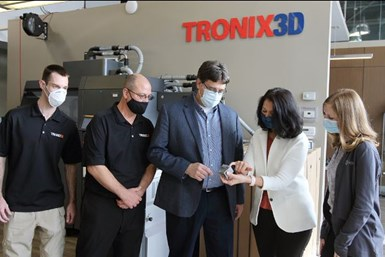 An image of Tronix3D, U.S. Army and NCDMM representatives at Tronix3D's technology demonstration