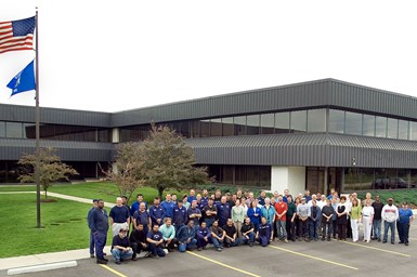 A partial photo of Jorgensen's facility and staff at its Mequon, Wisconsin facility